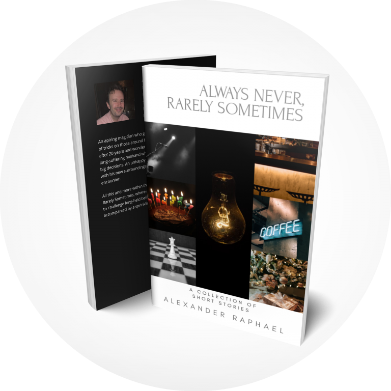 Book cover – Always Never, Rarely Sometimes by Alexander Raphael